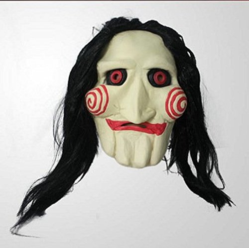 Maikerry Purge Mask-Halloween MasksPurge Mask Halloween Full Head Latex Mask Saw Movie Jigsaw Puppet Creepy Scary (Jigsaw Saw Halloween Costume)