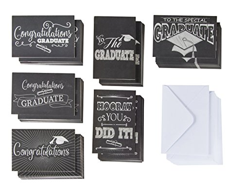 Graduate Card - 60-Pack Graduation Cards - Grad Greeting Cards, 2019 Congratulations Graduate Card Set, 6 Unique Chalkboard Designs, Envelopes Included, Black and White, 4 x 6 Inches