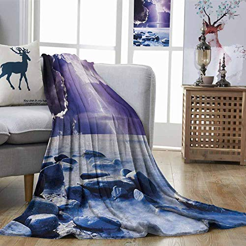 DILITECK Nature Anti-Wrinkle Blanket Dark Ominous Rain Clouds with Mystic Sky Scenery with Electrical Lightning Photo Can be Used on Sofa Blue Purple W70 xL93 -