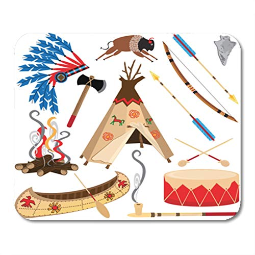Semtomn Gaming Mouse Pad Cowboy American Indian Clipart and White Teepee Arrowhead Drum Arrow Bow Canoe 9.5