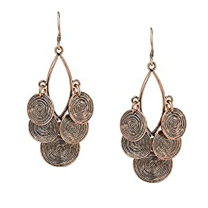 She Lian Vintage Long Womens Stylish Filigree Statement Dangle Earrings (Antique Gold Tone)