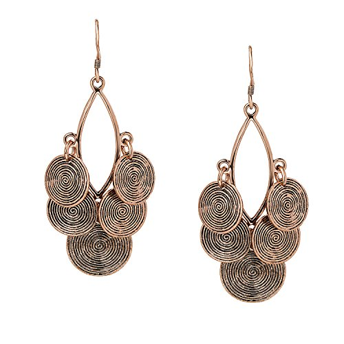She Lian Vintage Long Womens Stylish Filigree Statement Dangle Earrings (Antique Gold Tone) ()