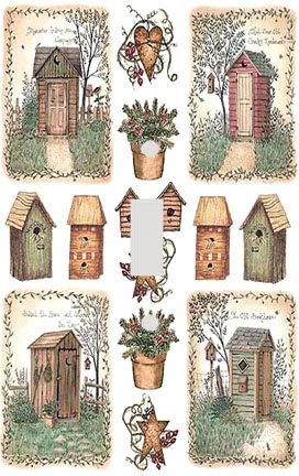 outhouse collage decorative switchplate cover - Decorative Switch Plate Covers