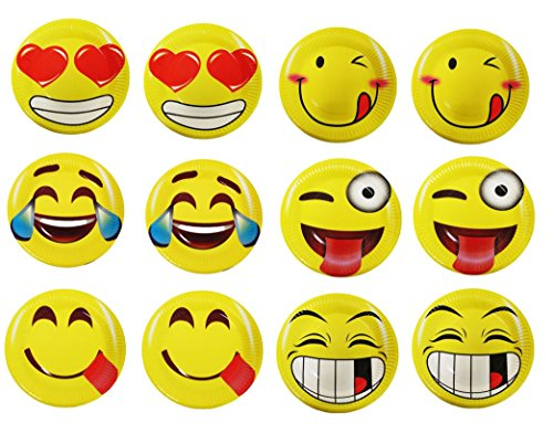 60 Emoji Party Paper Plates 7 Inch Emoji Fun Party Supplies and Party Favors. Pack of 60 Yellow Emoji Themed Smile Faced Dessert Plates. by Premium Disposables
