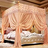 KE & LE Three-Door Thickening Mosquito Net, Encryption Stainless Steel Floor Stand Folding Infant Travel Crib Mosquito Net Hanging Mosquito Net-c W:180cmxh:200cmxd:200cm