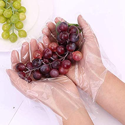 JINHEZO Disposable Gloves Clear Pack of 500 FoodGlove-500-VC Large