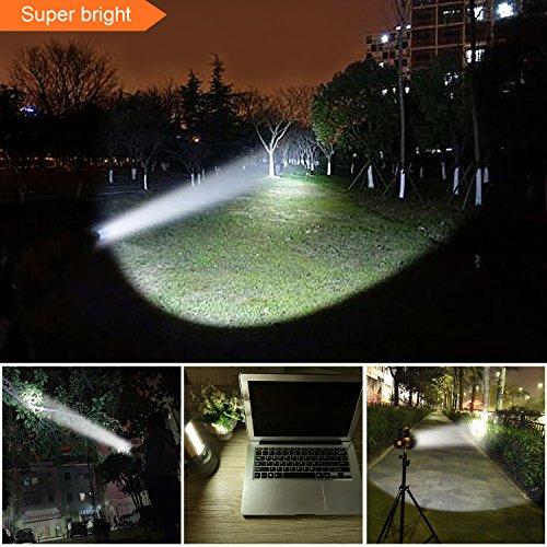 MAYTHANK Torcia LED Ricaricabile Alta Potente 6000 Lumen Ricaricabile USB Grande 4 batterie 10000 MAH di Lunga Durata Torcia Elettrica per Lanterna Campeggio, Emergenza