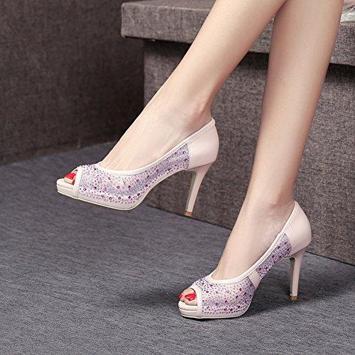 Negro Tamaño TPR 8 Zapatos 5 Desgaste Blanco Al Resistente 5 Sandalias 5CM YXINY Mujeres Rosa Tacones Pink EU37 Color CN37 PU de Pink tacón UK4 60BxPU4