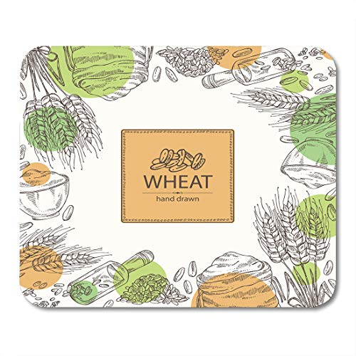 Nakamela Mouse Pads Bakery Bread with Wheat Plate and Bag with Flour and Grain Agriculture Barley Mouse mats 9.5