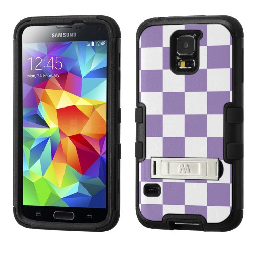 - UNQUITI TuMax Plastic+Silicone rubber Hybrid Case(BLACK) Image Case for SAMSUNG GALAXY S 5 - CHECKER (Pastel Amethyst/White)