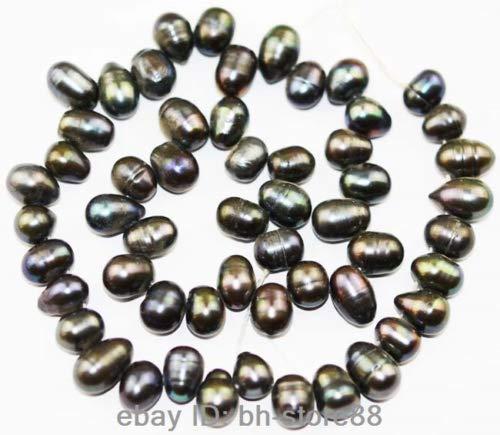 9mm Pearl Freshwater Peacock (FidgetGear Natural Freshwater Pearl Oval Sphere Loose Gemstone Beads 14.5'' Black Peacock Purple 7x9MM)