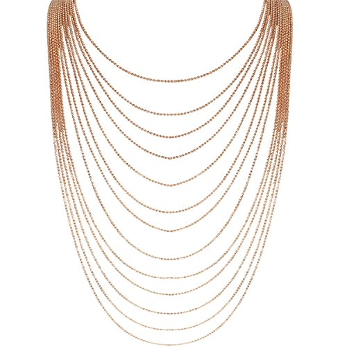 -Strand Statement Necklace - Slim Chain Beaded Waterfall Bib Long Chains, Gold-Tone 36