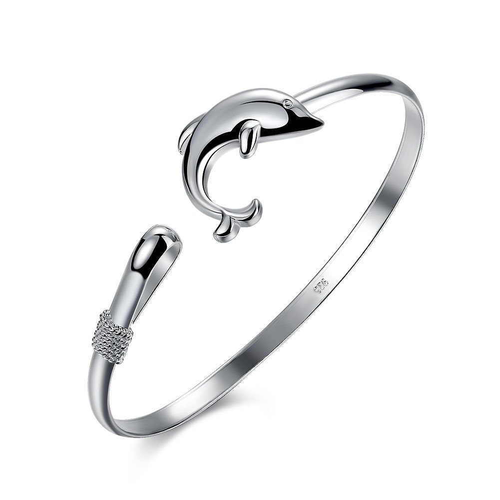Women Jewelry Silver Plated Stack Bangle Cuff Dolphin Charm Bracelet High Polished Adjustable Chain CHICY CACHLKNSPCB178