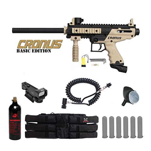 MAddog Tippmann Cronus Basic Red Dot Paintball Gun Package - Black/Tan ()