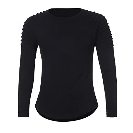 Easytoy Fashion Mens Casual Ribbed Crewneck Slim Fitted Long Sleeve Workout T Shirts (Black,