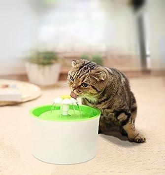 Fuente de Agua Potable, Fuente de Agua para Mascotas Eléctrico Automático Estilo de la Flor con el Enchufe de la UE para Gatos Perros Bebedero, Capacidad de ...