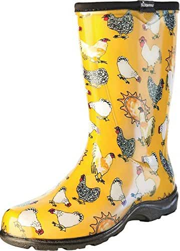 Sloggers Women's Rain and Garden Chicken Print Collection Garden Boots, Size 8, Daffodil Yellow
