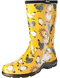 Women's Waterproof Rain and Garden Boot with Comfort Insole, Chickens Daffodil Yellow, Size 8, Style 5016CDY08
