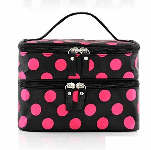 Smile Korea Style Double Layered Dot Women Zipper Cosmetic Case Bag Makeup Purse Bag In Bag Organizer