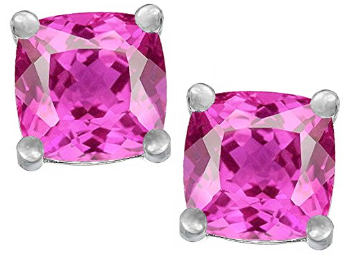 - Star K Cushion Cut 7mm Created Pink Sapphire Earrings Studs Sterling Silver