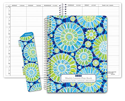 HARDCOVER 7 Period Dated Teacher Lesson Plan; Days Horizontally Across The Top Dated for 2019-2020 Academic Year (D101) (+) Bonus Clip-in Bookmark (Blue Green Flowers)
