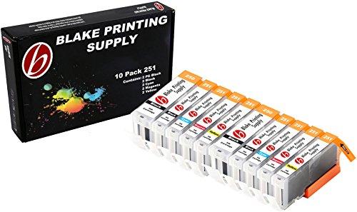 10 Pack Blake Printing Supply CLI-251XL 251 XL PGI-250XL 250XL High Yield Ink Cartridges for Canon PIXMA iP7220 iX6820 MG5420 MG5422 MG5520 MG5522 MG5620 MG5622 MG6420 MG6620 MX722 MX922 (Printing Supplies)