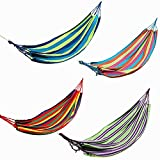 Outdoor Colorful Stripe Canvas Hammock Swing Bed For Camping Hiking Portable With Carry BagSpecification:Material: Premium CanvasColor: Blue,Red, Green, Rose RedMax. Load: 120kgSize: Approx.200cm x 80cm (L*W)Features:Strong material, lightweight and ...