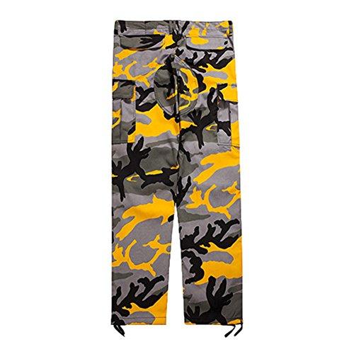 mimetici Juleya cargo allentati sportivi Pantaloni Giallo donna Pantaloni per mimetici Pantaloni wBqZfRwnP