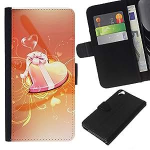 Planetar® Modelo colorido cuero carpeta tirón caso cubierta piel Holster Funda protección Para HTC Desire 820 ( Love Orange )