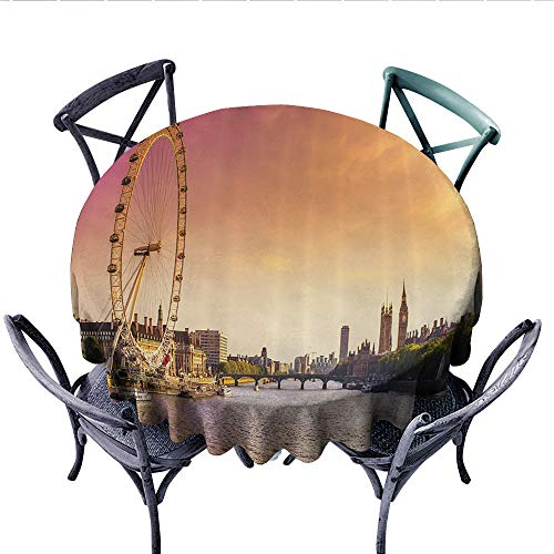 London Decor Collection Printed Circle Tablecloth Sunset View from Bridge on Thames River Ferris Wheel London Eye Big Ben Westminster Picture Stain Resistant Wrinkle Tablecloth (Round, 60 Inch, Peach)