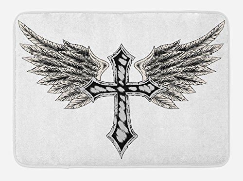Lunarable Gothic Bath Mat, Heraldic Wing and Cross Fable Feathers Faith King Heraldic Theme Artwork Print, Plush Bathroom Decor Mat with Non Slip Backing, 29.5 W X 17.5 W Inches, Black Cream by Lunarable
