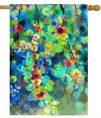 Green Summer Garden - ShineSnow Watercolor Abstract Spring Summer Seasonal Green Floral Leaves Flowers House Flag 28