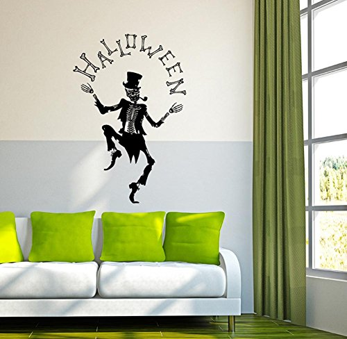 BIBITIME Dancing Gentleman Skeleton Wall Sticker Sayings Quotes Halloween Funny Skull Wall Decals for Nursery Children Kids Room Decor Living Room Porch Decorations -