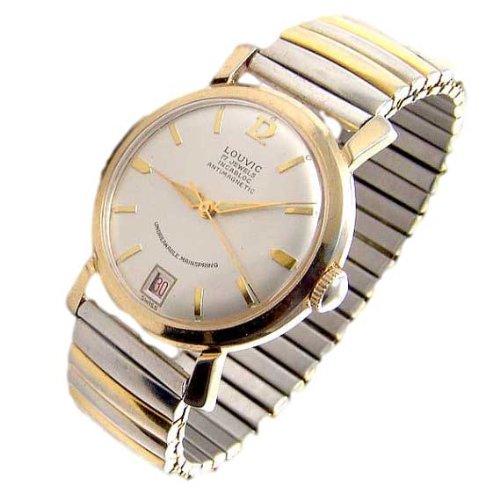 Rare Vintage Mens wristwatch, Rare LOUVIC 17j ,Swiss Incabloc antimagnetic, mechanical,day date,GP, used 1950's, Runs - Jewel Watch Swiss