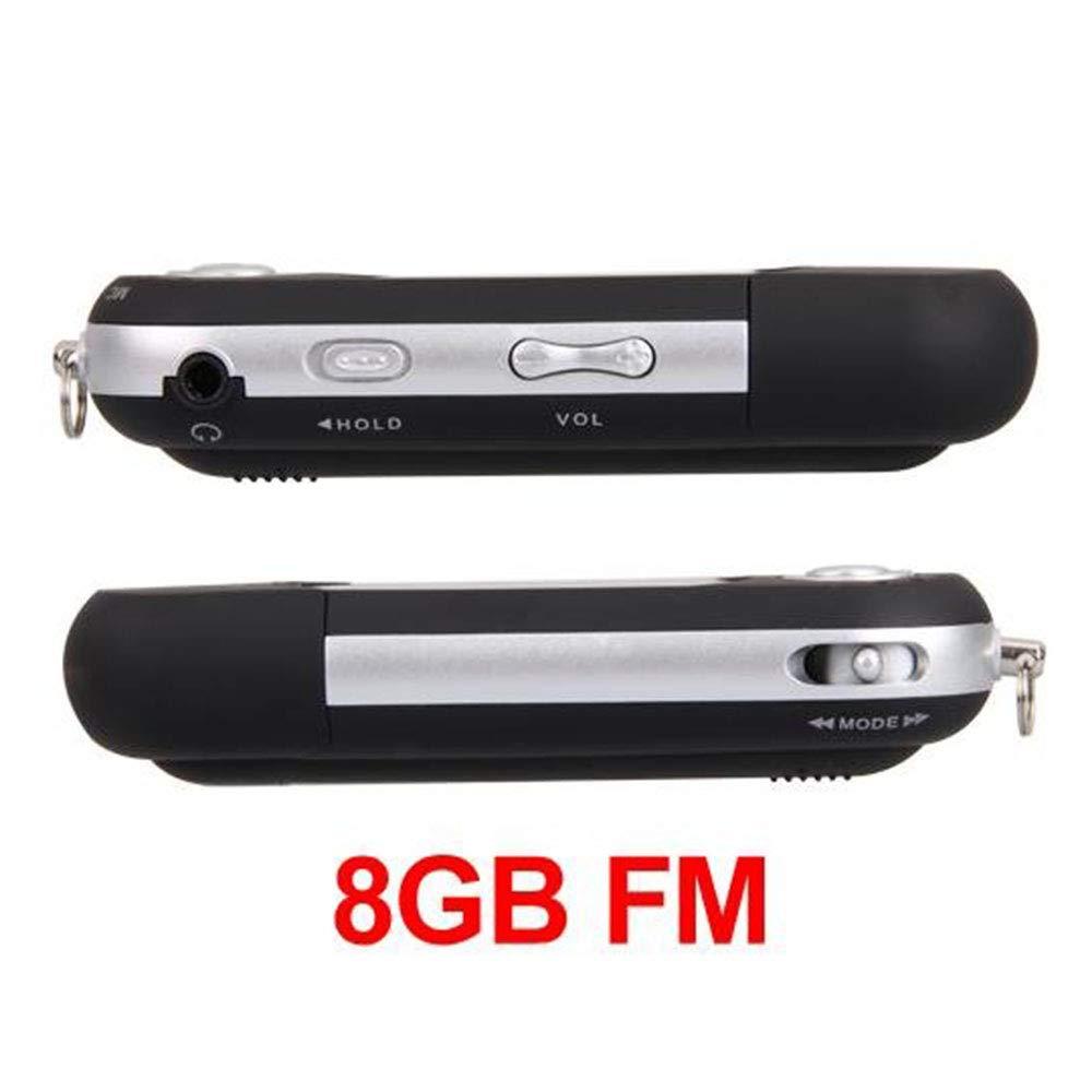 Easy Provider Mini Reproductor MP3 Negro 8GB FM Radio Grabadora De Voz Player