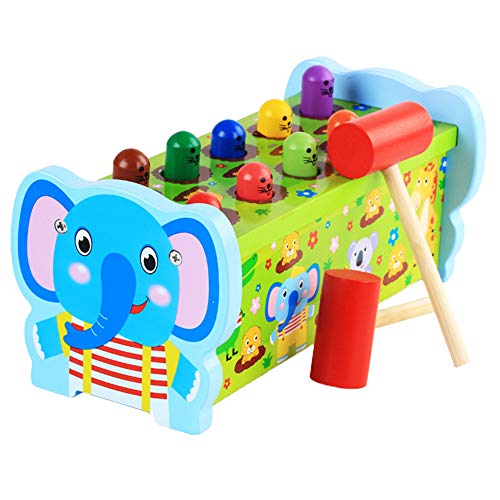 Willcome Wooden Animal Pounding and Hammering Educational Bench Mallet Knock Toys for Toddlers Kids Preschool Development (Elephant) by Willcome