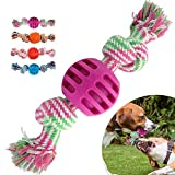 FOONEE Dog Chew Toy Cotton Rope Ball Pet Puppy Treat Ball, 4 Pack Durable Bite-Resistant Dog Chew Toys Interactive Play & Teeth Cleaning,Food Grade Cotton Rope Rubber
