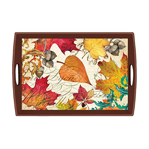 (Michel Design Works Large Decoupage Wooden Tray, Fall Symphony)