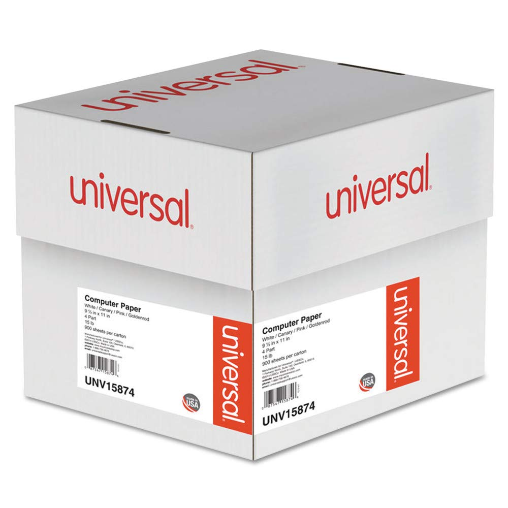 Universal 15874 Multicolor Paper, 4-Part Carbonless, 15lb, 9-1/2 x 11, Perforated, 900 Sheets by Reg