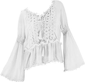 Blusa de Encaje para Mujer, Cuello Redondo y sólido Blanco XL: Amazon.es: Ropa y accesorios