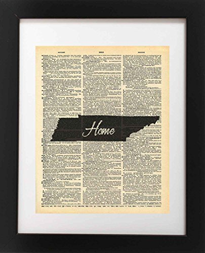 Tennessee State Vintage Map Vintage Dictionary Print 8x10 inch Home Vintage Art Abstract Prints Wall Art for Home Decor Wall Decorations For Living Room Bedroom Office Ready-to-Frame Home
