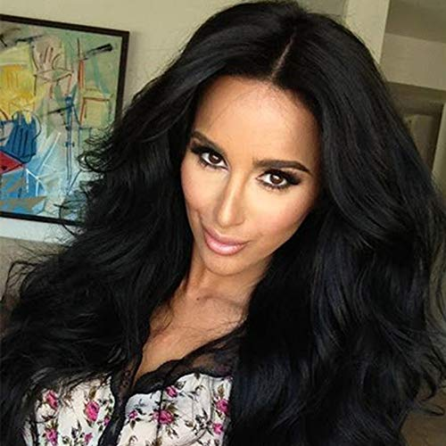 Big Wavy Wigs for Women Long Synthetic Hair Black Brown Mix Heat Resistant for Costume Fancy Dress ()