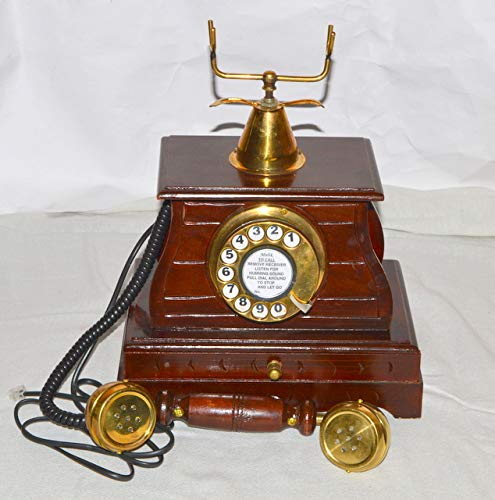 royalantique Vintage Style Brass and Wood Retro Table Drawer Telephone DIAL Ancient Primitive by royalantique