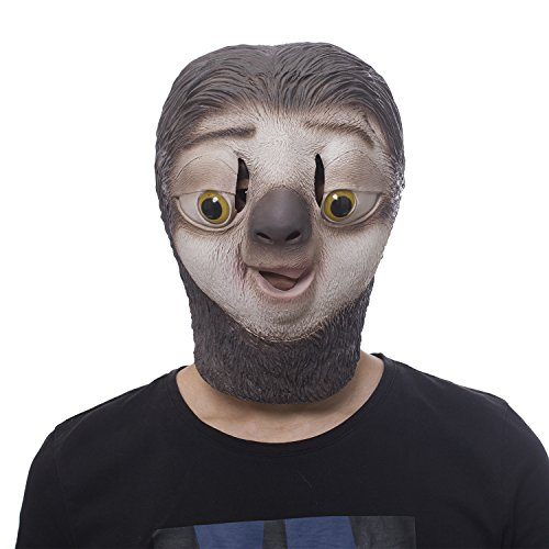 molezu Halloween Novelty Costume Party Latex Jungle Animal Masks Zootopia Flash Sloth Bear Head Rubber Mask]()