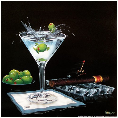 - Olive Party II Michael Godard Novelty Humor Print 12x12 Poster