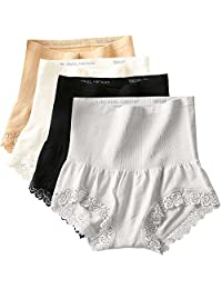 FEOYA Womens Abdomen Underwear(4 Pack) Sexy Fashion High Waist Elastic Ladies Panties