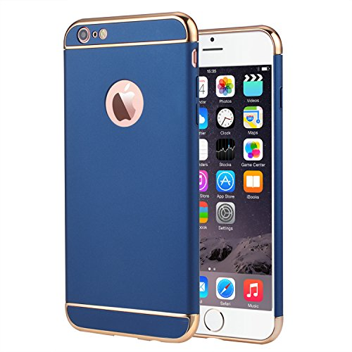 iPhone 6 Plus Case, Vansin 3 In 1 Ultra Thin and Slim Hard Case Coated Non Slip Matte Surface with Electroplate Frame for Apple iPhone 6 Plus (5.5'') and iPhone 6S Plus (5.5'') -- Navy Blue & Gold (Navy Blue And Gold)