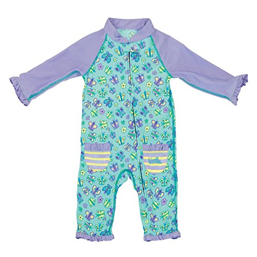 UV SKINZ UPF 50+ Baby Girls' Sun & Swim Suit - Lavender Butterflies - 12/18m (Protective Baby Suit)