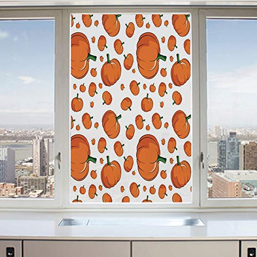 3D Decorative Privacy Window Films,Halloween Inspired Pattern Vivid Cartoon Style Plump Pumpkins Vegetable Decorative,No-Glue Self Static Cling Glass film for Home Bedroom Bathroom Kitchen Office 17.5]()