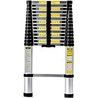 Homgrace 4.4 m Échelle télescopique Échelle Alu Échelle multi-usage avec protection des doigts, capacité de charge 150 kg (4.4 m, 15 marches)